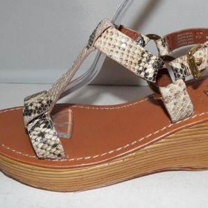 Tory Burch Roccia Phython Print Wedge Sandals